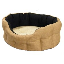 Machine Washable Premium Oval Basket Weave Softee Dog Bed with Lining