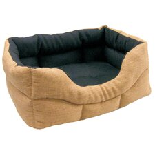 Machine Washable Rectangular Heavy Duty Basket Weave Softee Dog Bed with Lining