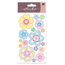 Vellum Pastel Strip Daisy Sticker