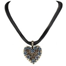Blue Roses and Crystal Heart Necklace