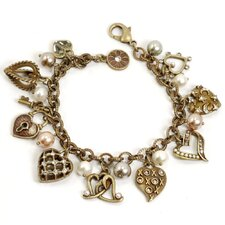 Hearts and Faux Pearls Charm Bracelet