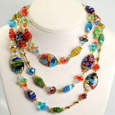 <strong>Sweet Romance</strong> Millefiori Candy Glass Oval Necklace