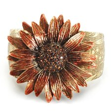 Retro Daisy Flower Crystal Cuff Bracelet in Brown With Copper Topaz Finish