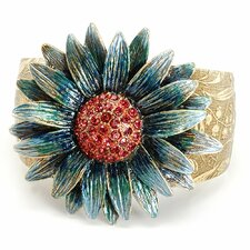 Retro Daisy Flower Crystal Cuff Bracelet in Blue/Green With Coral Finish