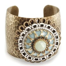Starburst Jade and Aragonite Medallion Retro Cuff Bracelet