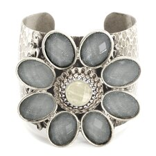Retro Daisy Flower Glass Cuff Bracelet