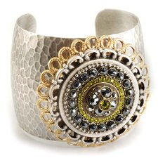 Hematite/Olive Green Medallion Crystal Cuff Bracelet with Silver Finish