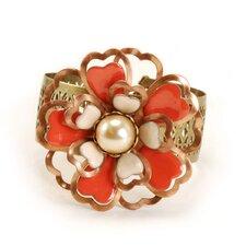 Dimensional Flower Enamel/Cultured Pearl Cuff Bracelet