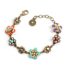 String of Flowers Enamel Link Bracelet