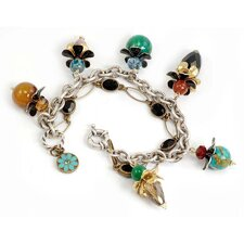 Flower Gemstone Chain Link Bracelet