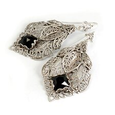 Filligree Leaf Square Cut Glass Drop Earrings