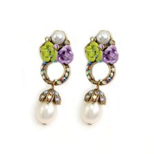 Rose Cluster Loop Cultured Pearl Drop Earrings