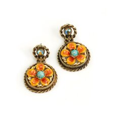 Button Flower Turquoise Drop Earrings