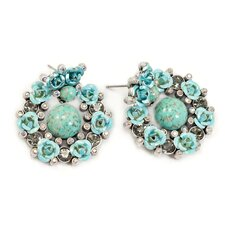 Fiesta Roses Turquoise Stud Earrings