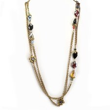 <strong>Sweet Romance</strong> Gemstone Beaded Floral Necklace