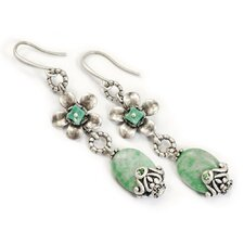 Floral Jade Drop Earrings
