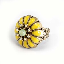 Marigold Flower Cultured Pearl Ring