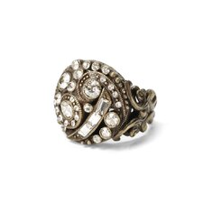 Deco Swirl Crystal Ring