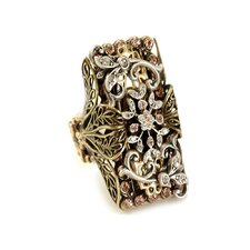 Elongated Floral Crystal Ring