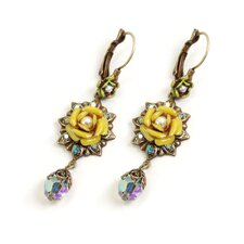 Tia Rose Blossom Crystal Drop Earrings