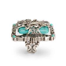 Fleur De Lis Rectangular Cut Turquoise Ring