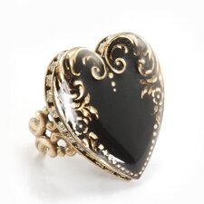Vintage Heart Crystals Ring