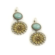 Daisies Oval Cut Amazonite Drop Earrings