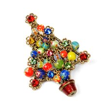 Christmas Tree Millefiori Beads Pin