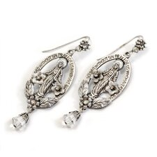Oval Madonna Drop Earrings