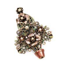 <strong>Sweet Romance</strong> Christmas Topiary Tree Cultured Pearl Pin