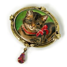 <strong>Sweet Romance</strong> Christmas Kitty Garnet Pin