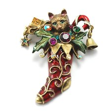 Christmas Kitty Stocking Pin