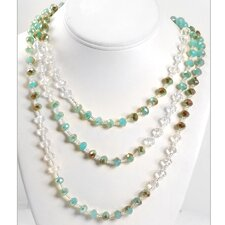 <strong>Sweet Romance</strong> Iridescent Glass Beads Necklace & Earrings Set