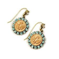 Bird Spirit Coin Drop Earrings