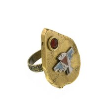 Thunderbird Golden Arrowhead Agate Statement Ring