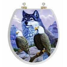 3D Vario Scenario Series Wolf and Eagle Round Toilet Seat
