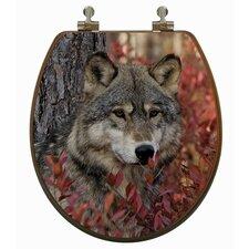 3D Upland Series Wolf Round Toilet Seat