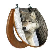 3D Upland Series Wolf Behind A Tree Round Toilet Seat