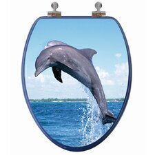 <strong>Topseat</strong> 3D Ocean Series Dolphin Jumping Elongated Toilet Seat