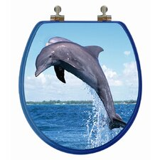 3D Ocean Series Dolphin Jumping to The Left Round Toilet Seat