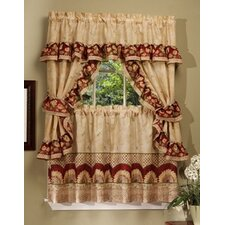Sunflower Cottage Rod Pocket Ruffled Valance and Tier Set