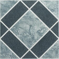 "Nexus 12"" x 12"" Vinyl Tile in Light and Dark Blue Diamond"