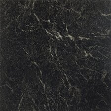 "Nexus 12"" x 12"" Vinyl Tile in Black With White Vein Marble"