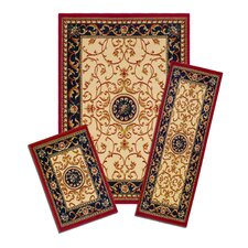 Capri Wrought Iron Medallion 3 Piece Rug Set
