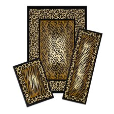 Capri Leopard Skin 3 Piece Rug Set