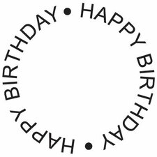 Mounted Rubber Happy Birthday Circle Stamp