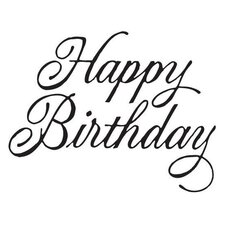 Mounted Rubber Happy Birthday Script Stamp