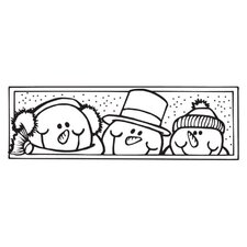 Mounted Rubber Snowmen Stamp