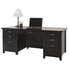 <strong>kathy ireland Home by Martin Furniture</strong> Tribeca Loft Black Double Pedestal Executive Desk