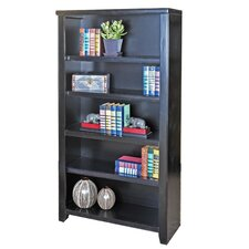 "Tribeca Loft Black Office Collection 60"" Bookcase in Distressed Painted Black"